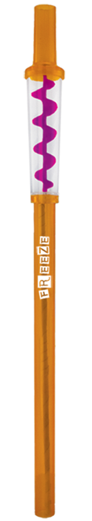 Orange reusable straw with spinning auger inside clear center decoration. Shown with example logo imprint on side.