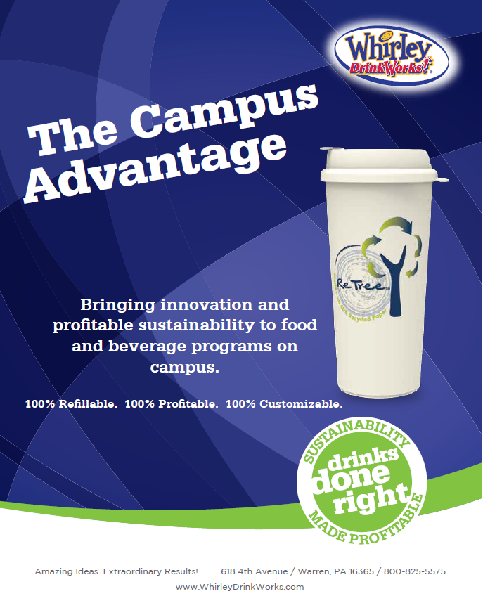 Image of student using a sustainable, waste free drink cup at a college cafeteria