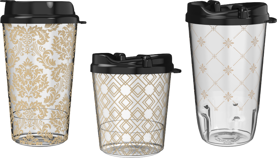 Three Clear Plastic Theatre Refill Cups with Wallpaper Design