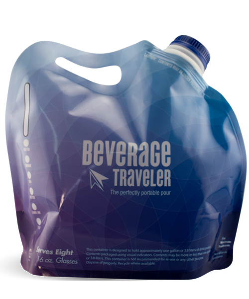 DBV-128 128 ounce Gallon-to-Go disposable take-out beverage bag with carbonation-compatible lid and carry handle