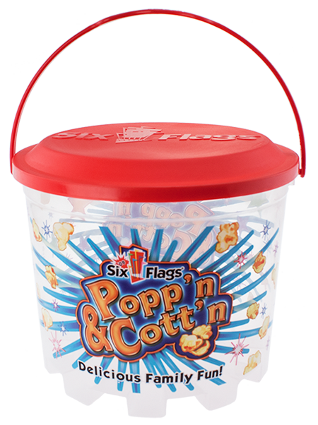 BKT-160 160 ounce stackable popcorn or cotton candy bucket with a snap-on embossed lid and carry-handle