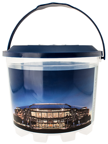 BKT-160 160 ounce stackable snack bucket with a snap-on embossed lid and carry-handle for stadiums