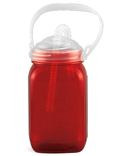 MAJS16E 16 ounce red blow-molded, styrolux, embossed mason jar with clear threaded lid, bendable straw, and carry-handle