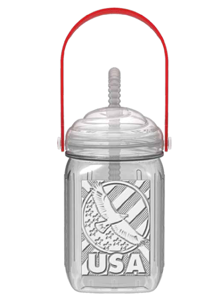 MAJS16E clear 16 ounce blow-molded, embossed souvenir mason jar with threaded lid, bendable straw, and red carry-handle