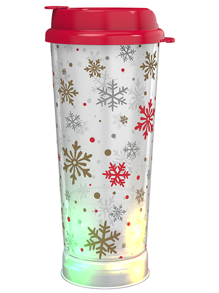 FC-162 16-ounce clear dual-wall insulated tumbler with a multi-colored, flashing light base and snap-on, flip-top lid