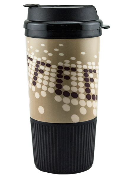 GC-16 16 ounce dual-wall insulated tumbler with ribbed rubber grip base and snap-on, flip-top lid