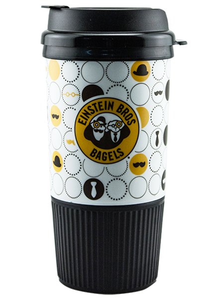 GC-16 16 ounce dual-wall insulated hot drink tumbler with ribbed rubber grip base and a snap-on, flip-top lid. Features Einstein Bros Bagel example artwork.
