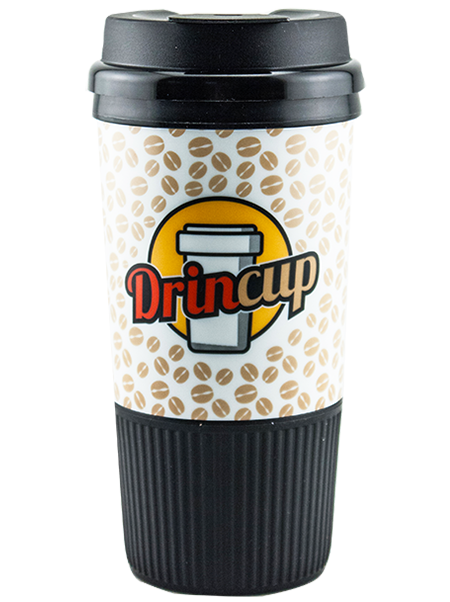 GC-16 16 ounce dual-wall insulated tumbler with ribbed rubber grip base and a snap-on, flip-top lid for coffee or hot beverages