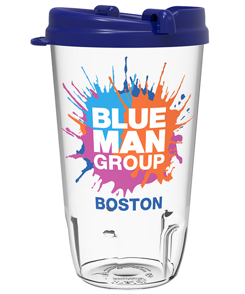 16 ounce Clear Bowled Tumbler with snap-on, blue swivel lid for theatres, featuring Blue Man Group example artwork