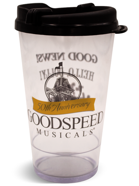 16 ounce Goodspeed Musicals Clear Premium Pint with Black Swivel Lid