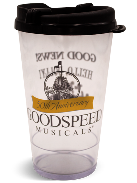 16 ounce Clear Premium Pint with snap-on, black swivel lid for theatres, featuring Goodspeed Musicals example artwork