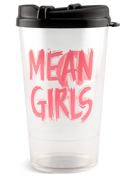 16 ounce Mean Girls Clear Premium Pint with Black Swivel Lid