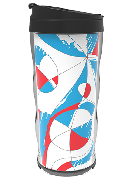 16 ounce Coffee Tumbler with Paper Insert, Wavy Wall Shell, and Threaded Flip-Top Lid