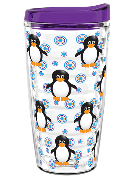 TR-16 16-ounce durable clear Tritan® dual-wall insulated tumbler with reinforced, ribbed liner and push-on sip-through slider lid in your choice of color