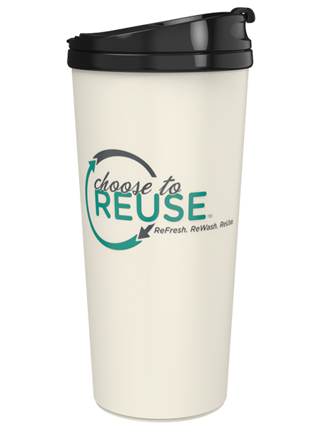 16 ounce Choose To ReUse Coffee Tumbler with 40% recycled paper ReTree shell and threaded flip-top lid