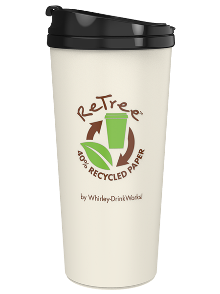 16 ounce coffee tumbler with ReTree 40% recycled paper shell and threaded flip-top lid