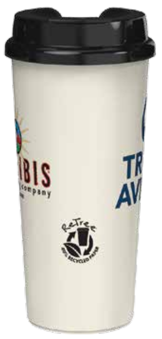 16 ounce Coffee Tumbler with 40% recycled paper ReTree Shell and Black Flip-Top Lid Side View