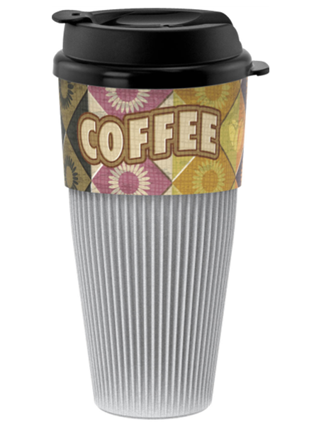 16 ounce Single Wall Coffee Tumbler with Black Flip-Top Lid featuring a corrugated, cool-touch shell