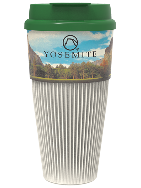16 ounce Yosemite Single Wall Coffee Tumbler with Green Flip-Top Lid featuring a corrugated, cool-touch shell