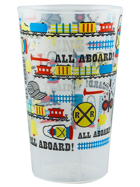 16 ounce transparent tumbler cup shown in clear, shown with Railroad Design example artwork