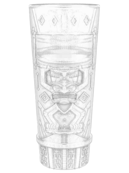 "Rear view of TKY-16 16 ounce clear molded Tiki Tumbler with embossed ""Tiki"" design"