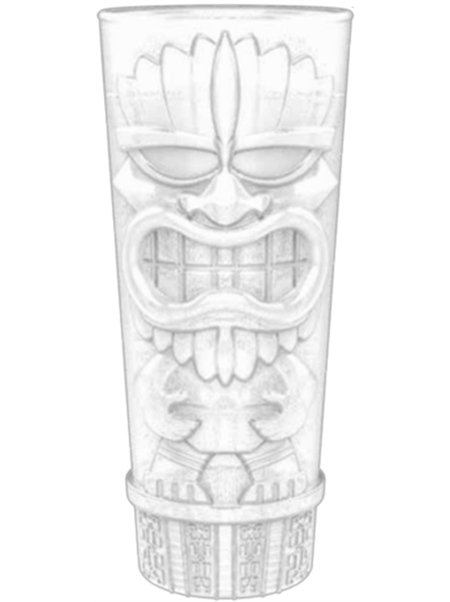 "TKY-16 16 ounce clear molded Tiki Tumbler with embossed ""Tiki"" design"