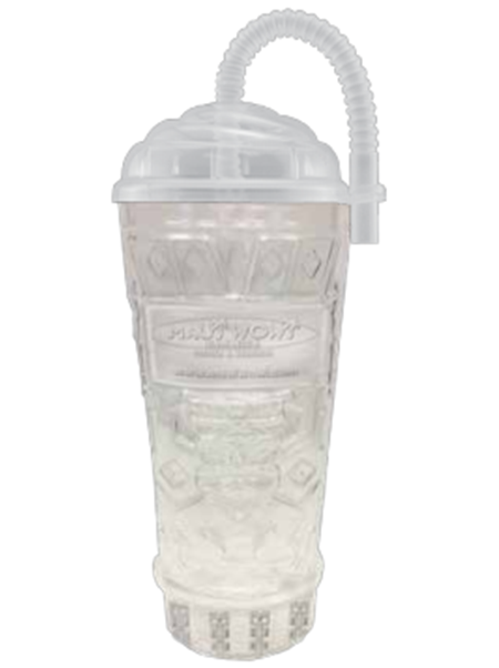 "TKY-16 16 ounce clear molded Tiki Tumbler with embossed ""Tiki"" design and optional lid with bendable straw"
