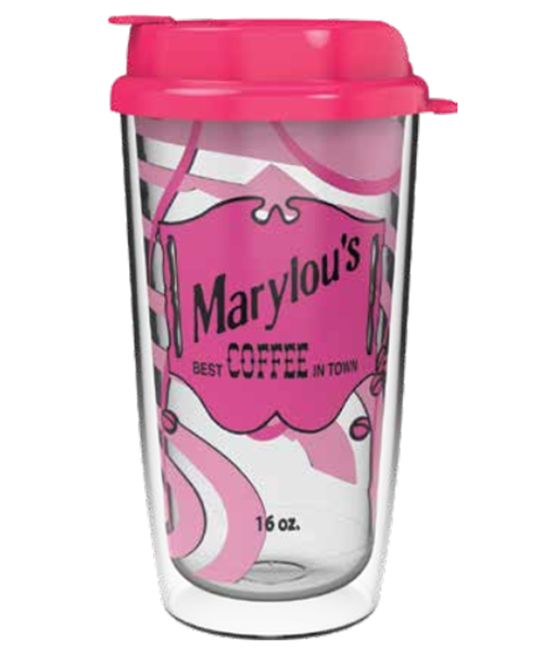 SBW-162X 16 ounce clear dual-wall tumbler with example decoration on liner and a pink snap-on, flip-top lid