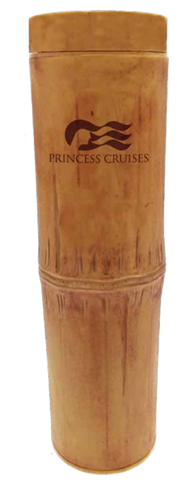 "18 ounce ""Bamboo"" Embossed Tumbler shown with threaded lid and Princess Cruises example artwork"