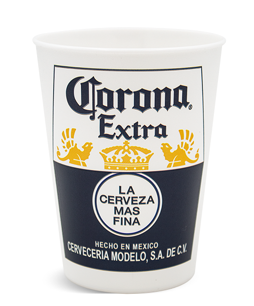 MX-16 16 ounce think-wall tumbler with rolled lip, shown with Corona Extra example artwork