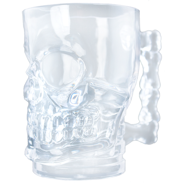 "20 ounce clear mug with molded ""skull"" shape and textured ""bone"" handle"