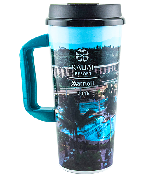 SC-202HX 20 ounce dual-wall insulated mug with snap-on, flip-top lid and handle, featuring Kauai Resort example artwork