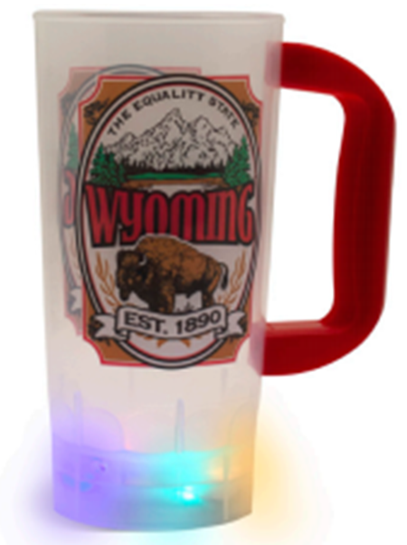 20 ounce translucent mug with red handle and fluted base with multi-colored flashing lights