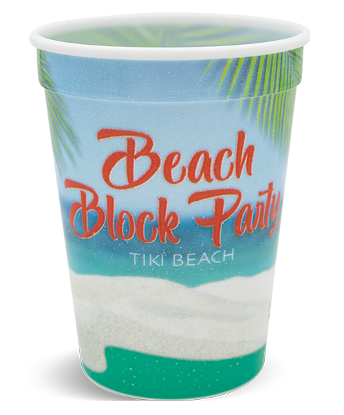 "12oz white ""ENVISIONS"" cup with ridge at top and a rolled lip, shown with full-color, digitally-printed wrap decoration in a beach theme"