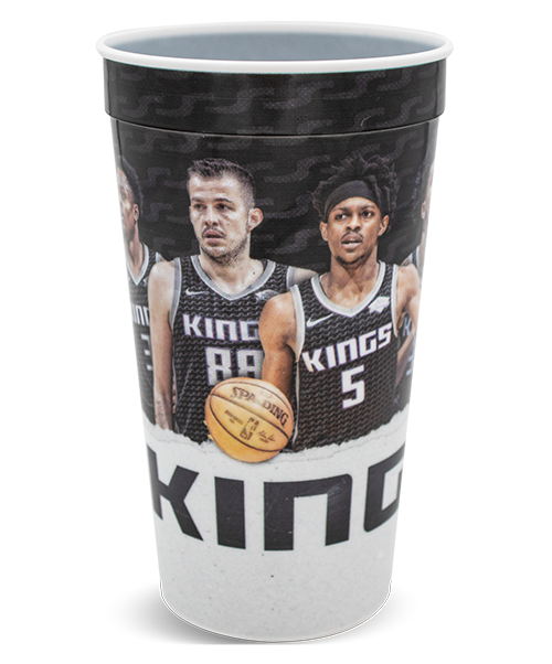 "32 ounce white ""Envisions"" thin-wall cup with ridge at top and rolled lip, shown with a sports-themed, digital print wrap decoration"