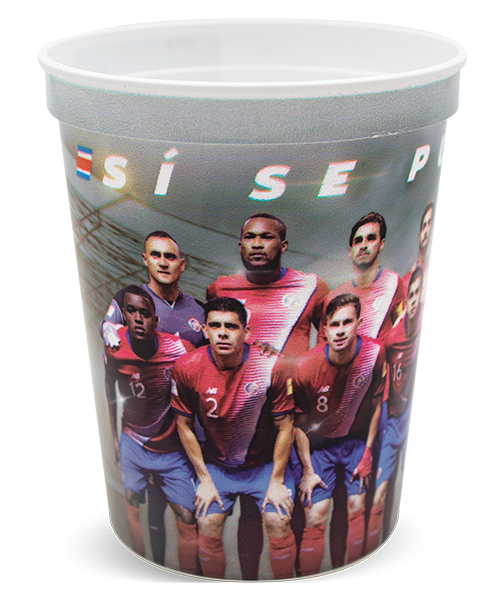 "16 ounce white ""Envisions"" thin-wall cup with ridge at top and lip for optional lid. Shown with sports-themed digital print decoration"