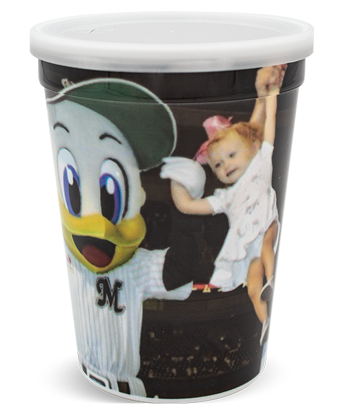 12 ounce thin-wall cup with ridge at top, shown with a full-color, digitally printed wrap decoration and a clear lid for a straw