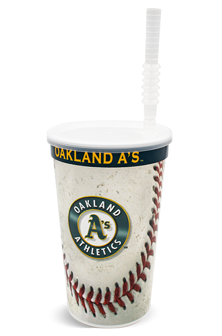 22 ounce stadium-style thin-wall cup shown with a corrugated straw inserted into the clear, push-on lid