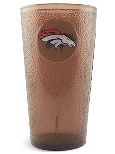 "20 ounce transparent ""football"" pint cup with textured embossing, shown with Broncos example imprint and clear brown color"