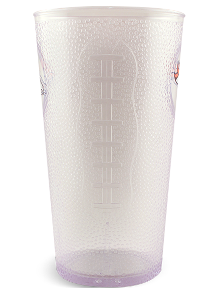 "20 ounce transparent ""football"" pint cup with textured embossing, side view of football lace embossing detail shown"