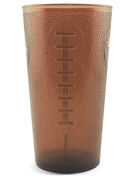 "20 ounce transparent ""football"" pint cup with textured embossing in clear brown, side view of football lace embossing detail shown"