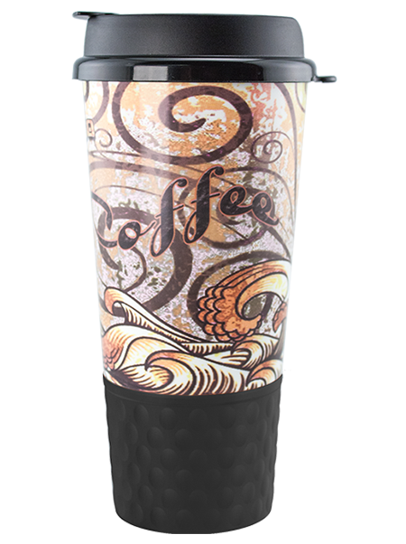 GC-20 20 ounce dual-wall insulated hot drink tumbler with snap-on, flip-top lid and handle and dotted, rubber grip base