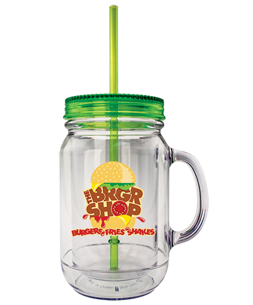 20 ounce clear dual-wall insulated mug in the shape of a mason jar with a handle, green screw-top lid, and straw