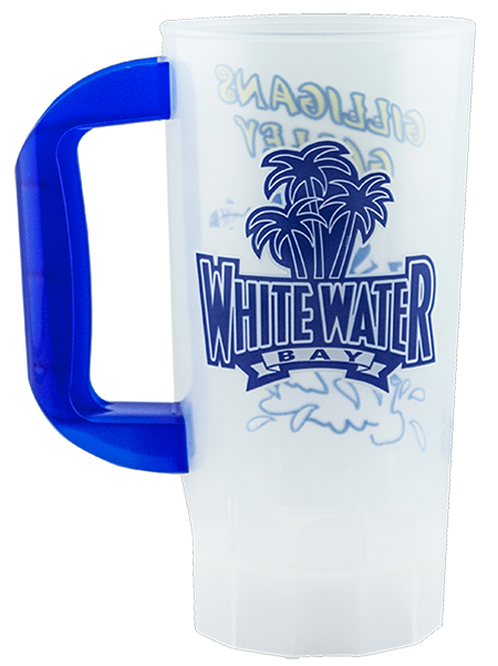 20 ounce single-wall mug with fluted base and color handle. Shown in clear with a blue handle.