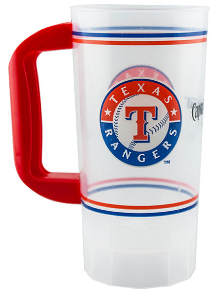 20 ounce single-wall mug with fluted base and color handle. Shown in clear with a red handle and Texas Rangers example artwork.