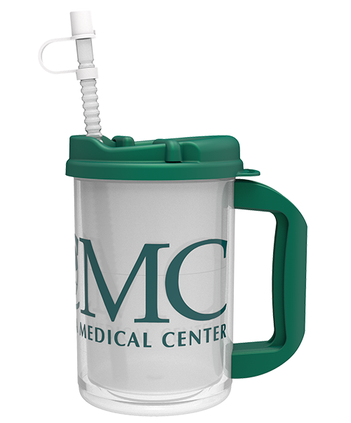20 ounce dual-wall mug for medical centers, shown with clear shell, white liner, green handle and swivel lid, and corrugated straw with cap