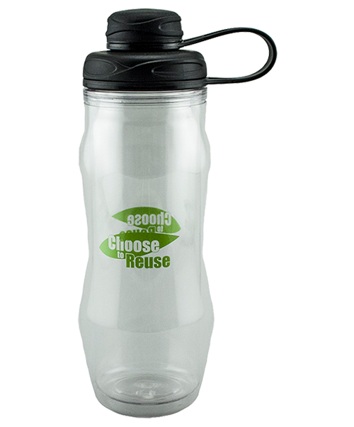 20 ounce clear dual-wall water bottle, shown with black screw-on lid with a threaded spout for drinking