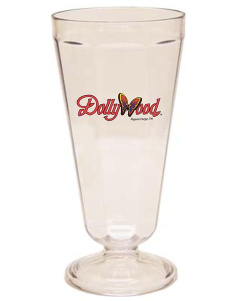 21 ounce clear stemmed, fluted tumbler for milkshakes, shown with Dollywood example logo imprint