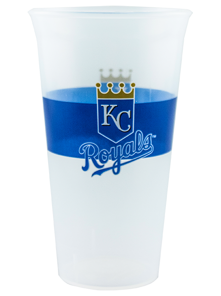 22 ounce single-wall tumbler with flared lip, shown in clear with Kansas City Royals example artwork