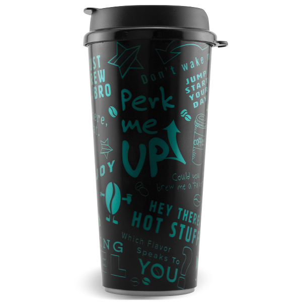 SC-24 24 ounce dual-wall insulated hot drink tumbler with snap-on, flip-top lid